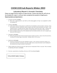 3 Lab Report Questions Chem 2220 Introductory Organic Chemistry