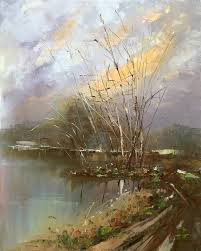 canvas painting oil painting knife landscape oil painting impressionism spring