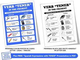 Verb Tener Conjugation Printable Poster And Handout