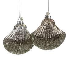 Details Zu 2 Glasmuscheln Taupe Silber Weihnachtsschmuck Baumschmuck Christbaumschmuck