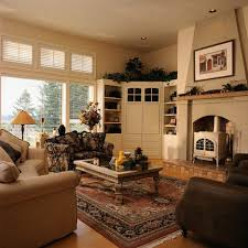 Living Room Corner Cabinet Cream Stained Wood Corner Cabinet Storage Blind Shades Curtains