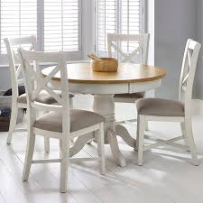bordeaux painted ivory round extending dining table 4 chairs seats 4 6