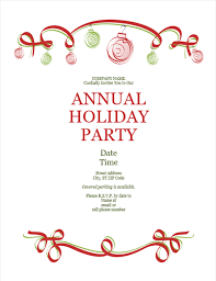 Red Ribbon Design Holiday Party Invitation With Ornaments And Red Ribbon