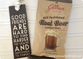 a page of old fashioned root beer candy with a black tag next to it that