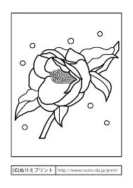 ツバキ1主線黒冬の花無料塗り絵イラストぬりえプリント