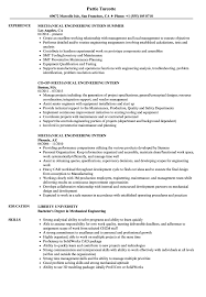 Mechanical Engineering Internship Resume Mechanical Engineering Intern Resume Samples Velvet Jobs 1