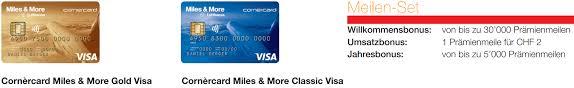 cornèrcard miles more visa gold mit 30 000 m m meilen als willkommensbonus cornercard