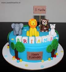 Animals Theme Designer Cake For Baby Girls 5th Month Birthday