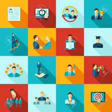 Free Work Experience Career Flat Icons Set With Knowledge Education Work Experience