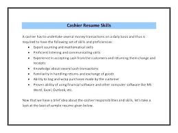 Cashier Skills To Put On A Resume Cashier Skills For Resume Waiter Resume Examples For Letters Job