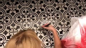 how to stencil paint ceramic floor tile farmhouse style bathroom floor diy you