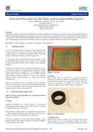 Pdf Selection Procedure For Air Filter Used In Automobile