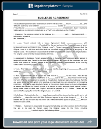 Sublease Agreement Samples Sublease Agreement Template Create A Free Sublease Agreement