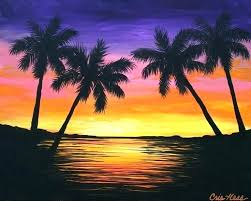 sunset beach painting tropical beach painting beach sunset painting tropical beach hut paintings
