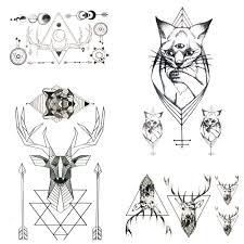 2467 руб летний стиль геометрические лося кошки стрела временные татуировки