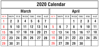 Free March April 2020 Printable Calendar Templates