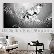 black  white love kiss abstract art on canvas painting wall art