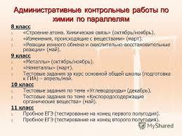 Презентация на тему Организационно управленческая деятельность  23 Административные контрольные работы по химии по параллелям 8 класс