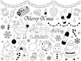 クリスマス 素材 モノクロイラスト No 619110無料イラストなら