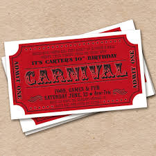 Printable Carnival Tickets Printable Carnival Ticket Invitation Circus Birthday Party
