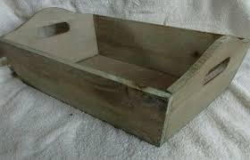 vintage small wood wooden storage box tray basket handles home toy washed limed