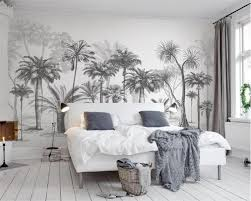 Aangepaste Behang Muurschildering Zwart En Wit Schets Tropische Regenwoud Kokospalm Nordic Tv Sofa Achtergrond 3d Behang Beibehang