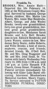 Annie Holt Brooks obituary - Newspapers.com