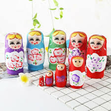 5pcs set elegant wooden matryoshka hand painted russian girl nesting dolls