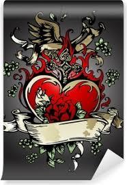 Obraz Na Plátně Zlatá Růže Srdce Křídla Tetování Znakem Pixers