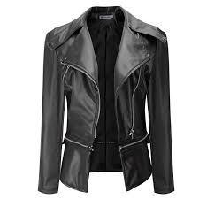 spring autumn new fashion black leather jacket for women slim short faux leather motorcycle jacket plus size leather coat female designer leather jackets