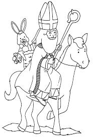 Kids N Fun Kleurplaat Sinterklaas Sint Op Paard