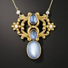 art nouveau moonstone pendant necklace previous to enlarge photo
