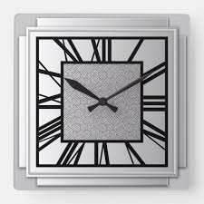 art deco brushed silver square wall
