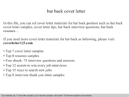 Collection Of Solutions Bar Back Cover Letter Excellent Sample Of