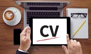 Cv Curriculum Vitae On The Tablet Pc Screen Held By Businessman
