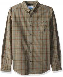 Columbia Mens Rapid Rivers Ii Long Sleeve Shirt Bright Copper Plaid Small