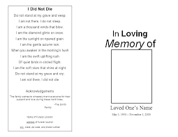 Memorial Service Template Free Funeral Pamphlet Booklet Brochure ...