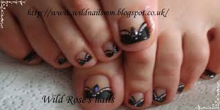 Black White Toe Nail Designs Wild Roses Nails Black Tips White Flowers And Gold Nails