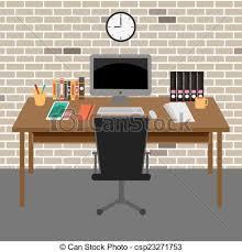 office desk clipart. Perfect Desk Vector Office Roominteriorbooks Deskclockcomputerpaper Throughout Desk Clipart