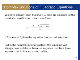 complex solutions of quadratic equations