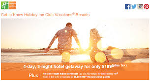 Ihg Set Your Sights Holiday Inn Club Vacations Package Task