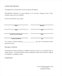 sample contract agreement simple contract agreement template free contract labor agreement