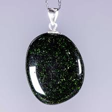 green goldstone pendant with 925 sterling silver fittings