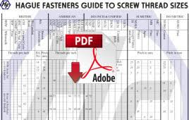 British Standard Cycle Thread Chart Hague Fasteners Guide To Screw Thread Sizes