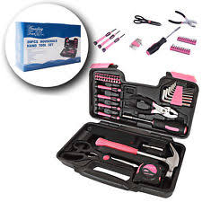 pink tool set. precition hand tool kit 39 piece pink household set box ladies women home tools