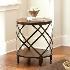 excellent collection in oak accent table round brown wood metal drum amazing silver round distressed wood and metal end throughout metal and wood