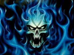 blue fire skull wallpaper hd
