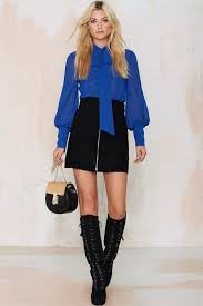 Nasty gal Mademoiselle Pussy Bow Blouse Blue in Blue Lyst