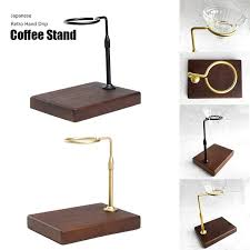 Pieces (for a single stand cut into two 5 in. Japanese Retro Stainless Steel Black Walnut Wood Hand Drip Coffee Stand Filter Cup Holder Pour Over Coffee Maker Brewer Rack Wish