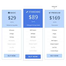 Pricing Chart Examples Pricing Table Themify
